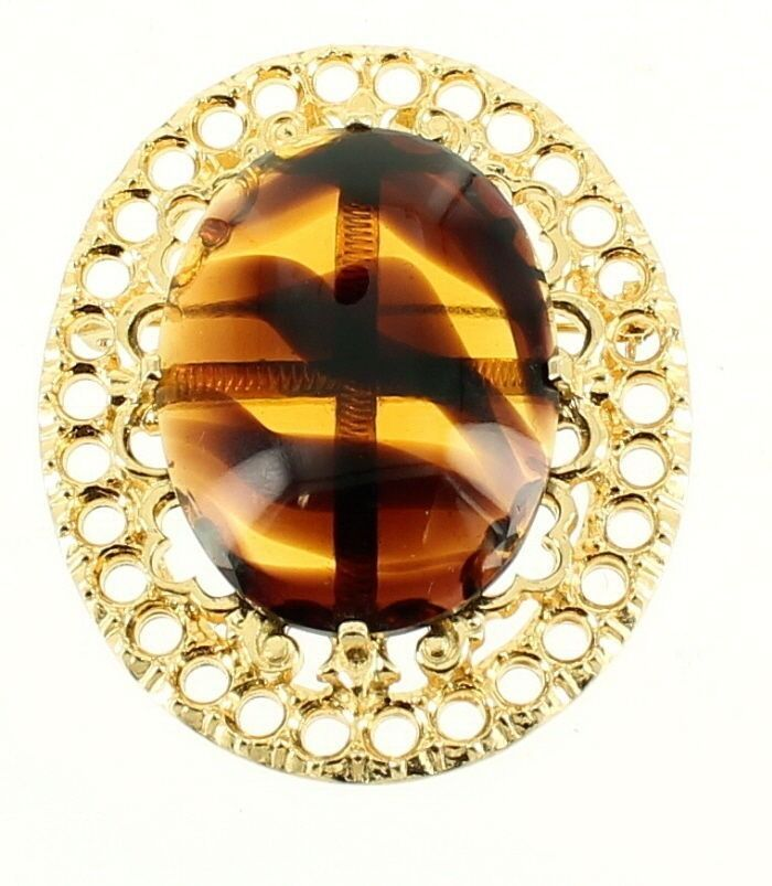 Primary image for VINTAGE ACCESSOCRAFT NYC FAUX TORTOISE SHELL GLASS CAB FILIGREE GOLD TONE PIN