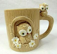 Joseph Originals Coffee Mug Cup Owls in Tree 3D Vintage Rare Salesman Sa... - $29.69
