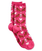 NEW Women's Dachshund & Milkshake Socks - Pink - $12.00