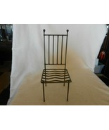 """Gray Tone Hand Made Metal Chair For Doll or Teddy Bear Display 11.75"""" Tall - $29.70"""