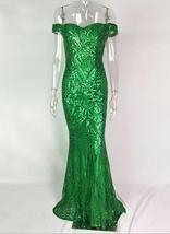 Sexy Shiny Sequin Retro Maxi Party Dress Off Shoulder Long Lining Low Cut Floor  image 5