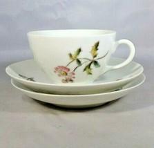 CF Haviland Limoges Cup & 2 Saucers Porcelain Schleiger 1311 Pink Flower... - $8.00