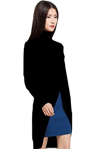 Primary image for Women's black tunic sweater Wool Cashmere Sweater Fashion turtleneck side split