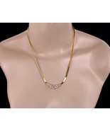 """Vintage Yellow Gold Plated Rock Quartz Snake Disco 70s Chain Necklace 18"""" - $80.99"""