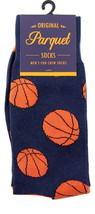Basketball Mens Novelty Crew Blue Socks Fun Casual Cotton Blend Sock Gift - $12.95