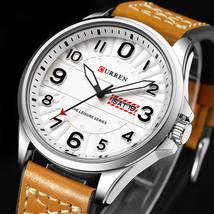 CURREN 8269 Calendar Luminous Display Leather Band Quartz Watch Steel Case Men W - $19.19
