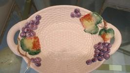 Fitz & Floyd ~ Large Basketweave dOuble Handle Fruit Motif Bowl/ Centerp... - $24.74