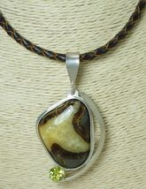 Utah Septarian Cabochon Gemstone Sterling Pendant with Braided Leather Cord - $158.00