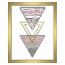 Triangles Blue Shadowbox Raised Shape Glass Screenprint Living Room Wall... - $40.09