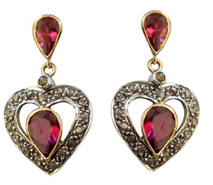 Primary image for Victorian 0.71ct Rose Cut Diamond Ruby Lovely Gorgeous Cute Engagement Earrings