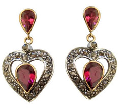 Victorian 0.71ct Rose Cut Diamond Ruby Lovely Gorgeous Cute Engagement Earrings - $291.72