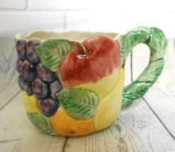 "Fitz & Floyd Ironstone Fruit Design Mug 8 oz 3""H 3 1/2"" D Made in Japan - $18.56"