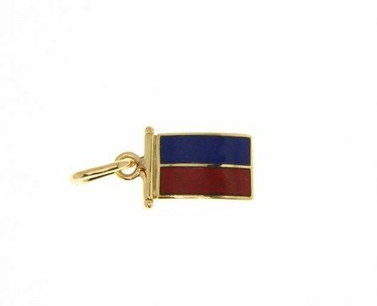 18K YELLOW GOLD NAUTICAL GLAZED FLAG LETTER E PENDANT CHARM MEDAL MADE IN ITALY