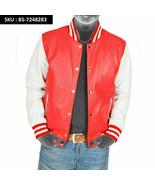 Red / White Real Genuine Lambskin Leather Bomber Varsity Style Jacket - $123.65 - $137.51