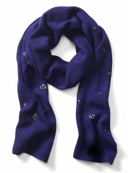 Banana Republic Women Scarf Royal Blue Crystal Embellished Wool Blend Light New