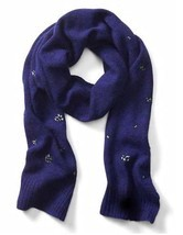 Banana Republic Women Scarf Royal Blue Crystal Embellished Wool Blend Li... - £29.64 GBP