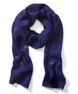 Banana Republic Women Scarf Royal Blue Crystal Embellished Wool Blend Li... - $50.54 CAD