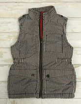 Gap Kids Girls Black White Gingham Checks Puffy Sherpa Lined Vest Sz Lar... - $15.00