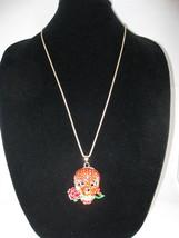 NEW Betsey Johnson Red Rhinestone Skull w/ Rose Pendant on Lo... - $24.50