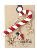 Crystal Avenue SNOWFLAKE STOCKING DANGLE BROOCH - $12.87