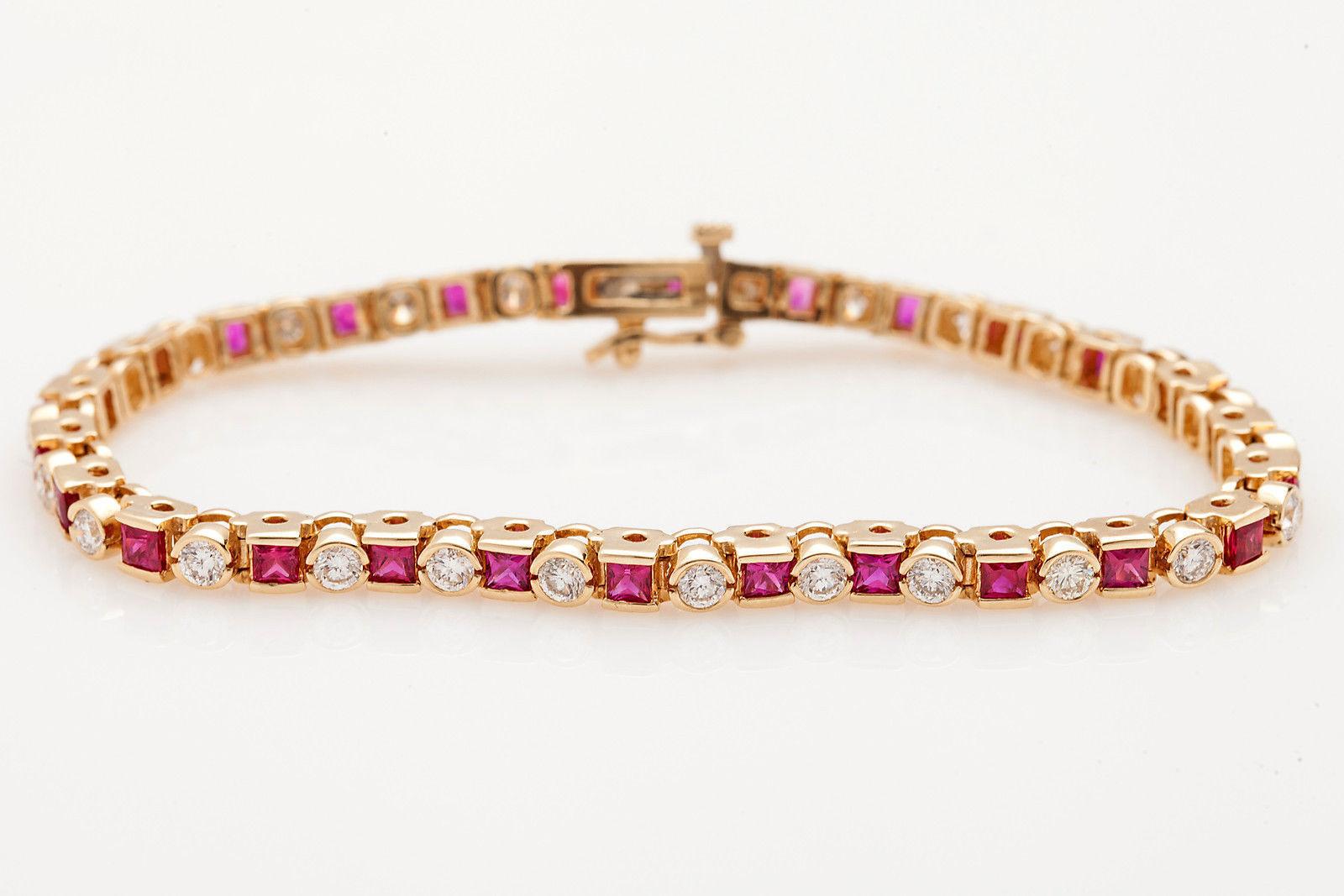Solid 10k Gold Channel Set Ruby Round Cut Swarovski Diamond Stunning Bracelet