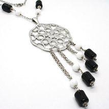 Halskette Silber 925, Onyx Schwarz Röhre, Medaillon Sterne und Kreise Anhänger image 3
