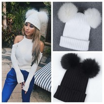 """Women""""s Winter Outdoor Chunky Knit with Double Fur Pom Pom Cute Beanie Hat - ₨2,045.86 INR"""
