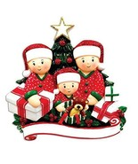 FAMILY OF 3 CHRISTMAS ORNAMENT OPENING PRESENTS UNDER THE TREE GIFT HOLIDAY - $12.79