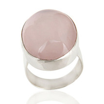 925 Sterling Silver Rose Quartz Gemstone Women's Engagement Rings Jewelry - $41.81