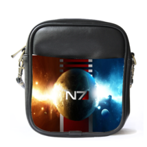 Sling Bag Leather Shoulder Bag N7 Logo In Elegant Earth Light Design Mas... - $14.00