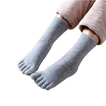 PANDA SUPERSTORE Gray Winter Comfortable Middle Tube Five Finger Socks Athletic