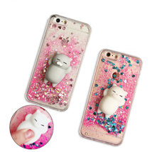 Squishy Lazy Cat Soft Frame Hard Back quicksand case Cover for iphone Sa... - $4.99