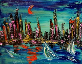 SUPERB LANDSCAPE ABSTRACT ART - PAINTING CANVAS SIGNED ARTWORK STRETCHED... - $98.00