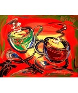 coffee MODERN ABSTRACT ART - PAINTING CANVAS CANADIAN TYRTH456U - $98.00