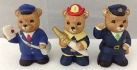 Homco Bears Mail Carrier Firefighter Policeman Set of 3 Professions Uniforms - $14.79