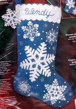 Bucilla Glittering Snowflakes Sparkle Blue Christmas Felt Stocking Kit 8... - $59.95