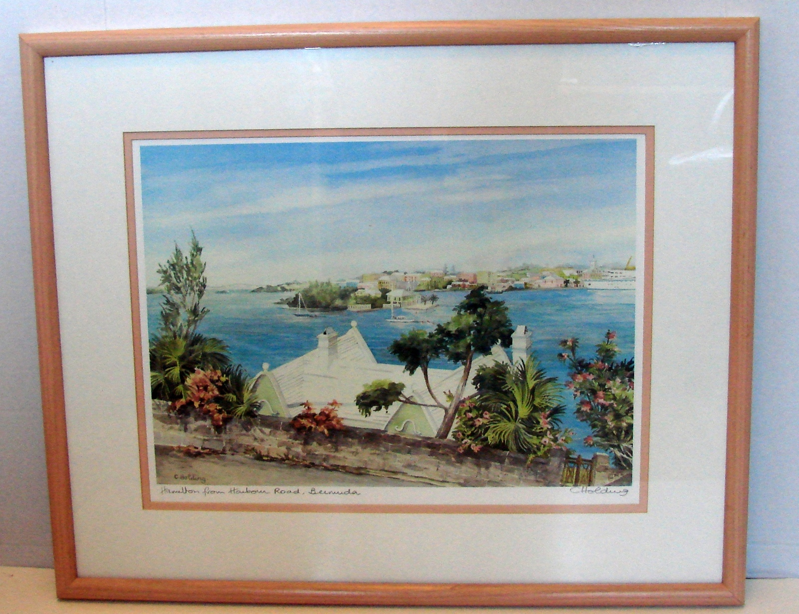 Hamilton from Harbour Road Bermuda  Pastel Painting- by C.Holding Signed, Frame