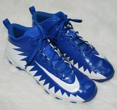 Nike Alpha Menace Shark Mid Football Shoes Cleats Royal Blue White Mens 11  - $29.65