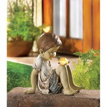 Boy Turtle & Butterfly Solar Garden Figurine Statue Garden Decor - $31.31