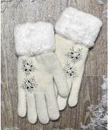 Gloves Womens Ivory Plush Lined with Faux Fur Cuffs One Size Fits Most - $19.95