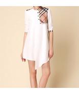 New Boutique London Trench Tunic Dress Nova Check Plaid Collar White L X... - $49.99