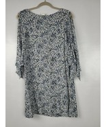 H&M Womens Shift Dress Size 6 Blue White Floral 3/4 Slit Flare Sleeve Ca... - $29.88