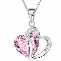USA Women Pink Heart Amethyst Crystal Silver Chain Pendant Necklace Jewelry - $9.89