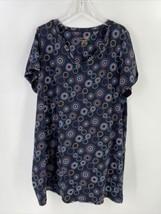 Cacique Women 22 24 Sleep Shirt Black Abstract Print Short Sleeve V Neck - $14.95