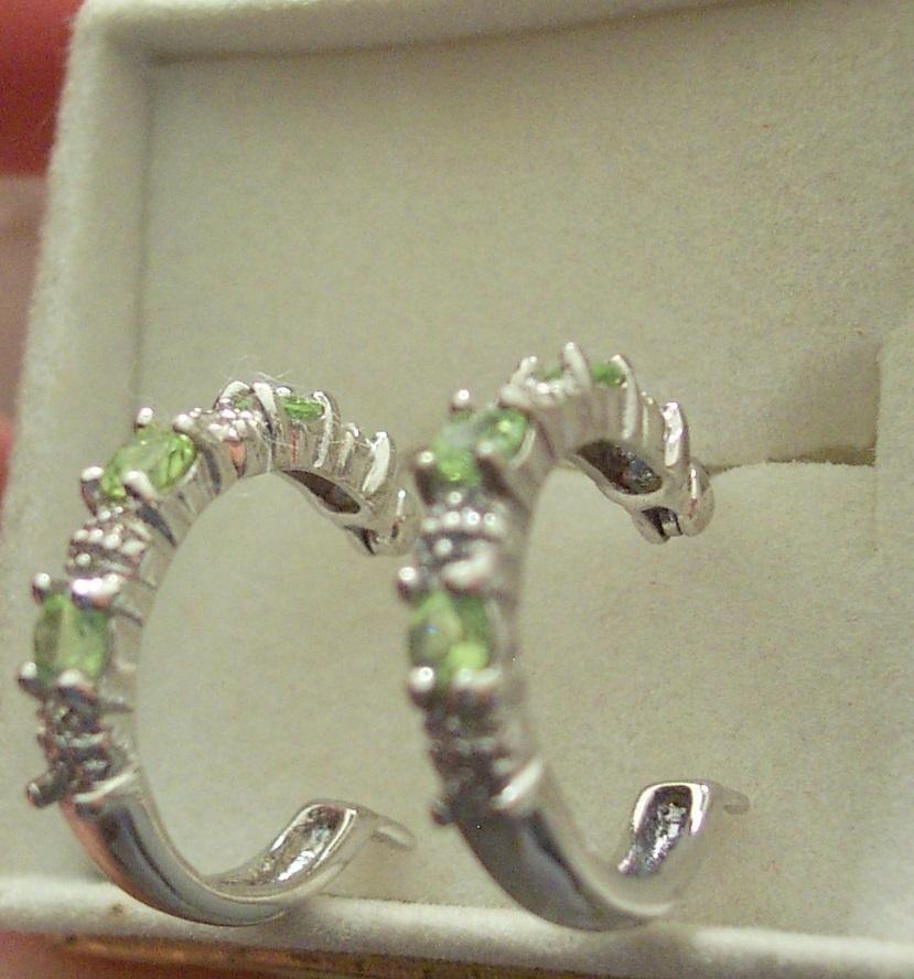 Peridot and Diamond Hoop Earrings in Sterling Silver