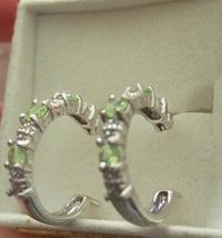 Peridot and Diamond Hoop Earrings in Sterling Silver image 1
