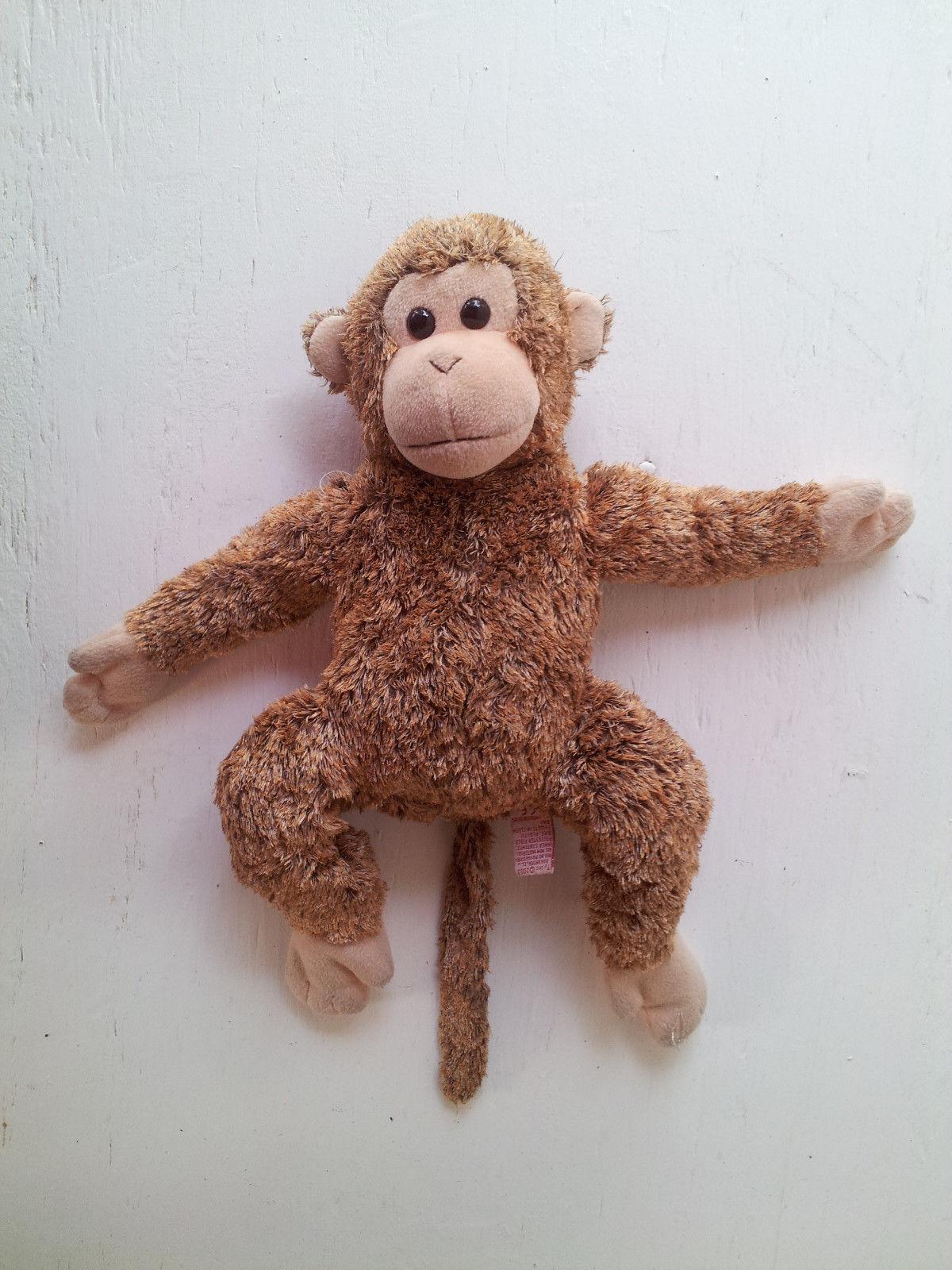 """TY Monkey Ape Toy Brown Tan Fuzzy Soft Beanie Baby Plush Stuffed Animal 10"""""""