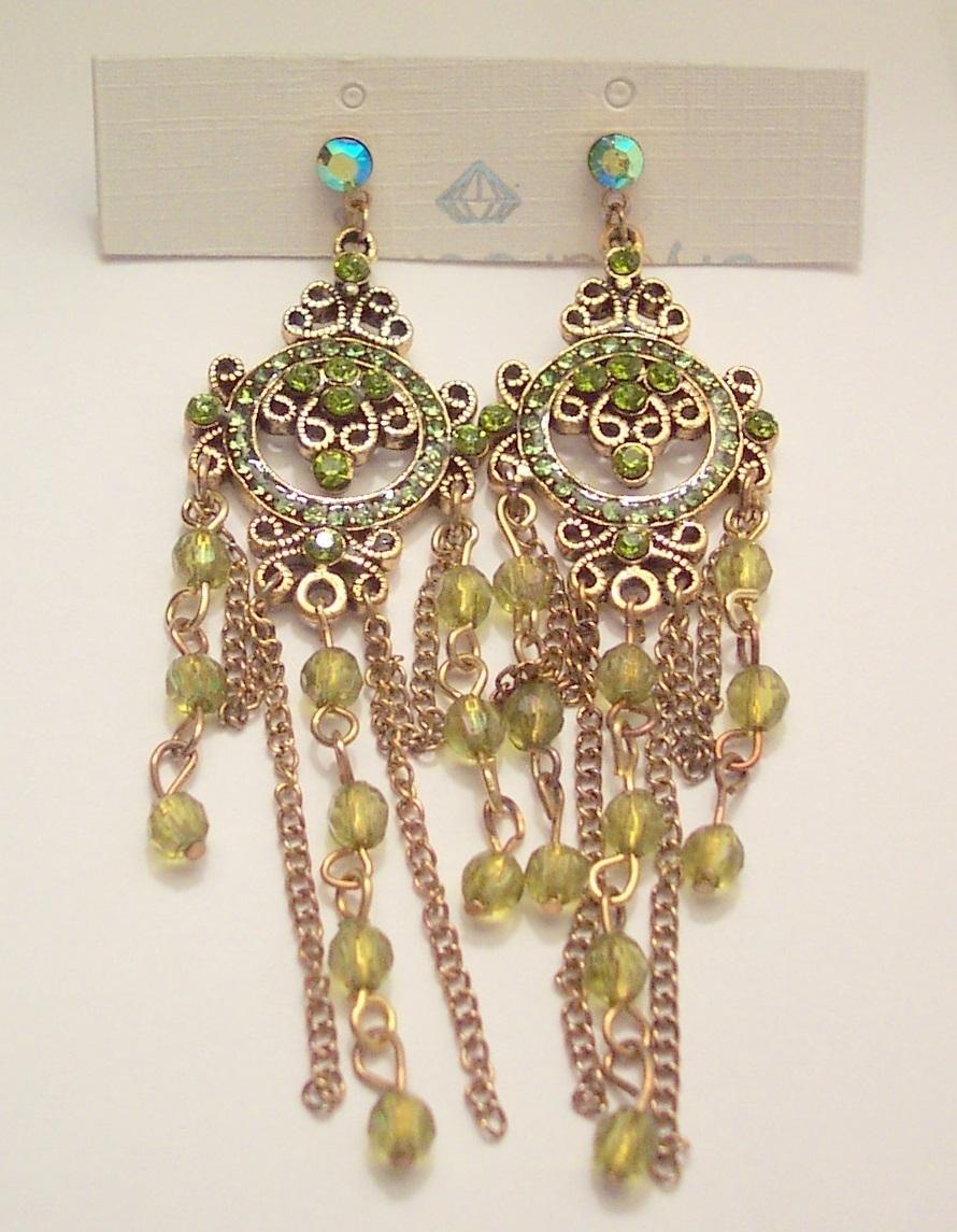 Peridot Color Bead Dangle Earrings