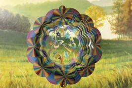 12 in stainless steel multicolor pastel Butterflys USA 3D hanging wind spinner - $32.00