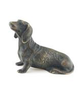 Vintage Solid Bronze Dachshund Figurine Signed - $74.25